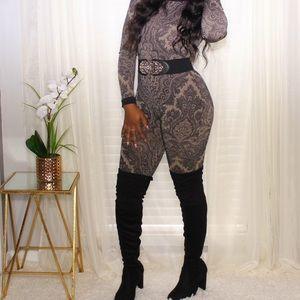 Other - Sassy Nude & Black Paisley Print Jumpsuit